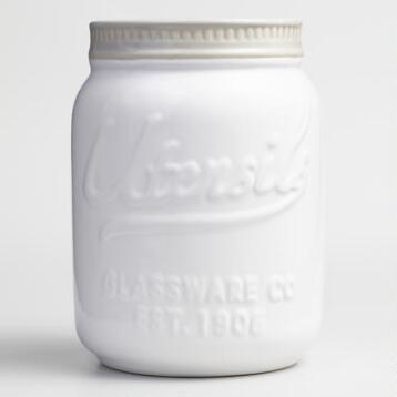 White Mason Jar Ceramic Utensil Holder