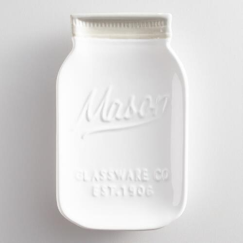 White Mason Jar Ceramic Spoon Rest