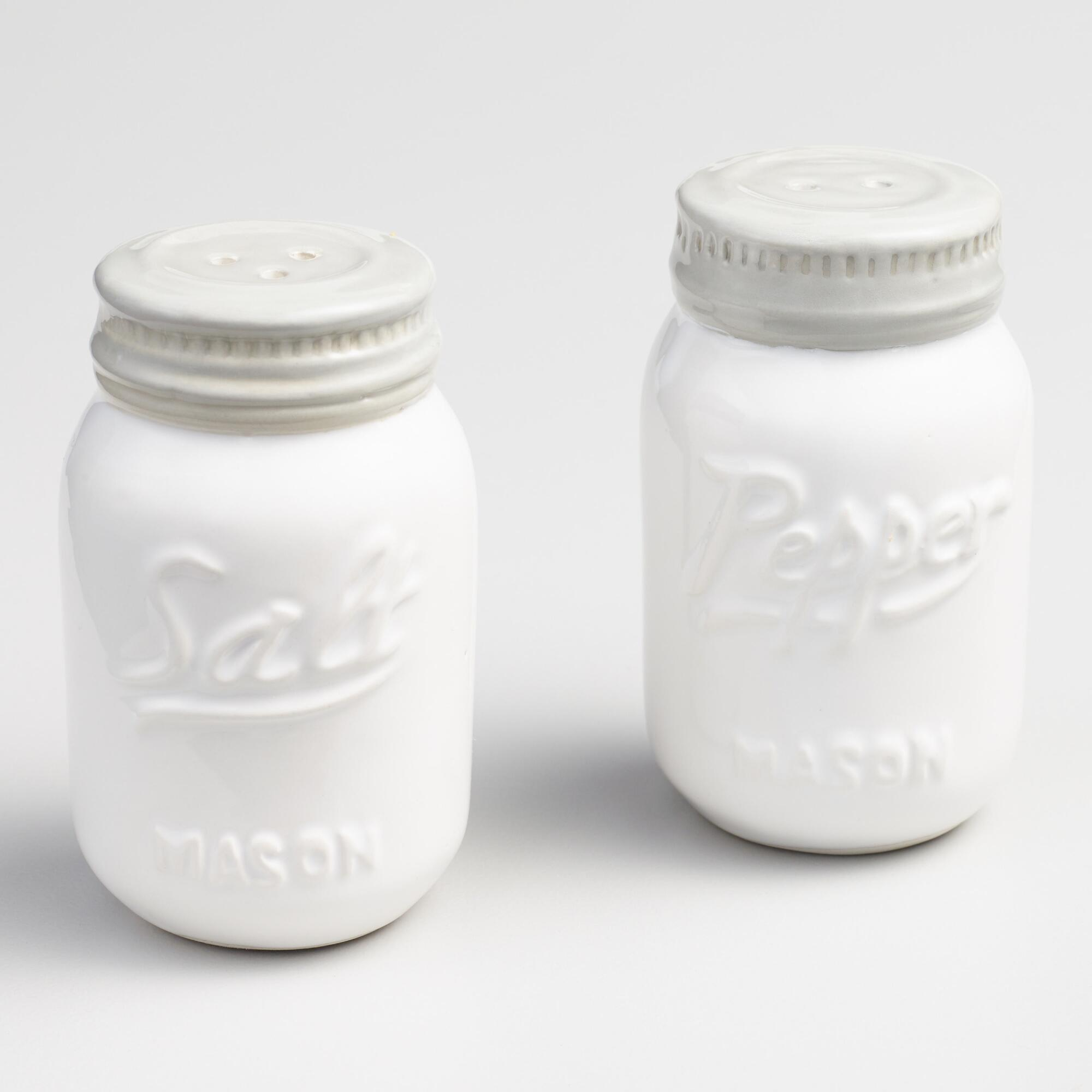 White Mason Jar Ceramic Salt And Pepper Shaker Set World
