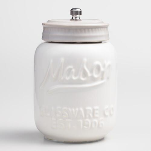 White Mason Jar Ceramic Salt and Pepper Grinder