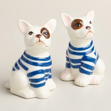 French Bulldog Ceramic Salt and Pepper Shaker Set