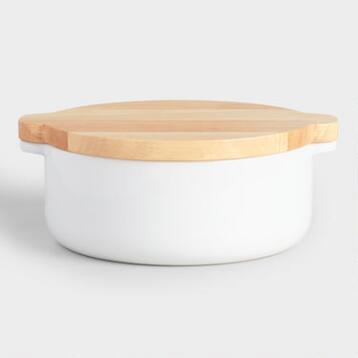 Small White Ceramic Baker with Wood Trivet Lid