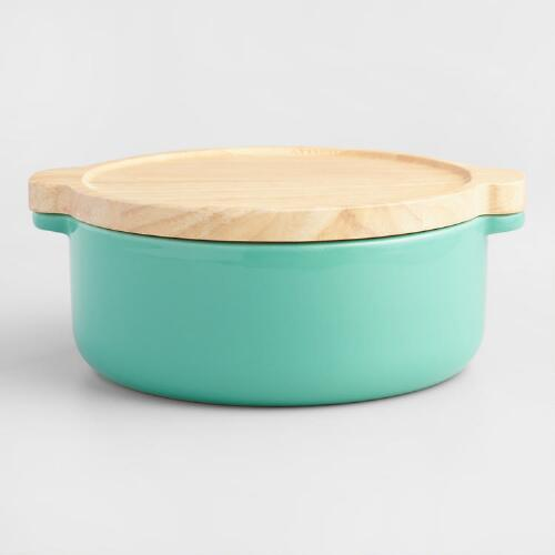 Small Aqua Ceramic Baker with Wood Trivet Lid