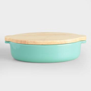 Large Aqua Ceramic Baker with Wood Trivet Lid
