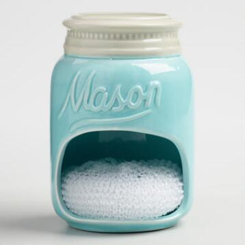 Blue Mason Jar Ceramic Sponge Holder