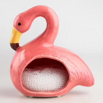 Flamingo Ceramic Sponge Holder