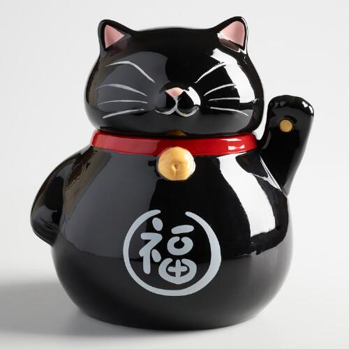 Black Lucky Cat Ceramic Cookie Jar