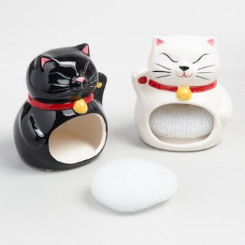 Lucky Cat Ceramic Sponge Holders Set of 2