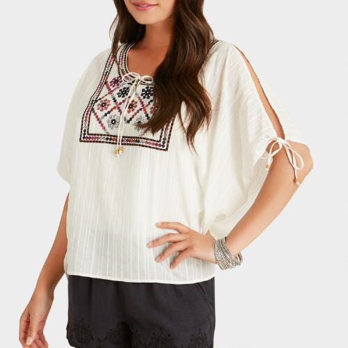 White Embroidered Ruby Top