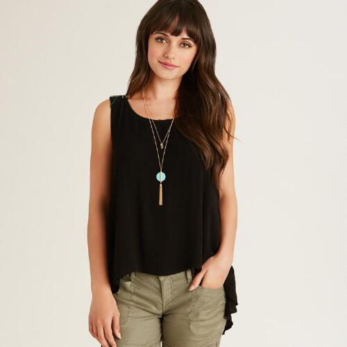 Black Embroidered Tova Tank Top