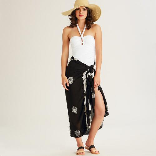 Black and White Tie Dye Sarong