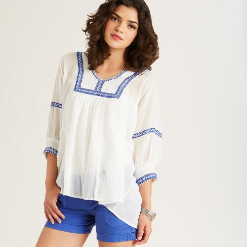White and Blue Embroidered Cecile Tunic
