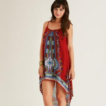 Red Medallion Faye Hi Lo Dress