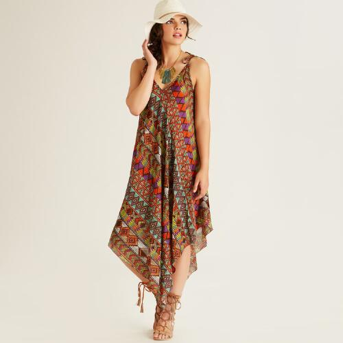 Multicolor Geometric Print Isla Asymmetrical Dress