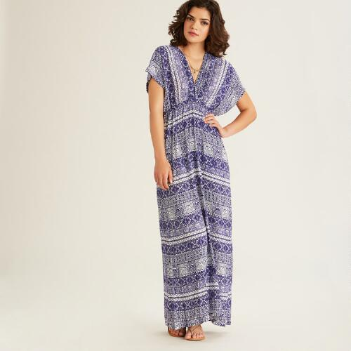 Blue and White Tribal Alma Kaftan