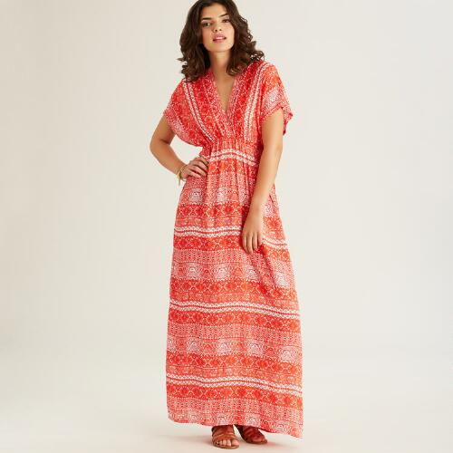 Red and White Tribal Alma Kaftan