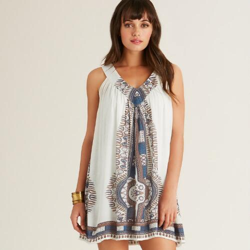 Ivory and Blue Faraa Dress
