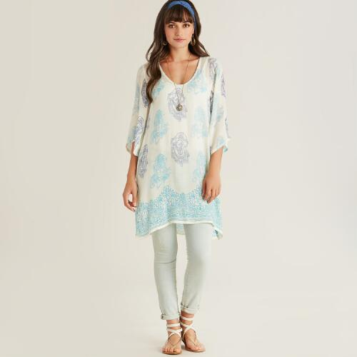 Ivory and Blue Prayer Shawl Tunic