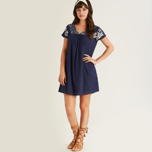 Navy and White Embroidered Nellie Dress