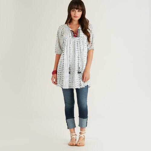 White and Blue Embroidered Della Tunic
