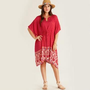 Red Morgan Kaftan with Floral Border