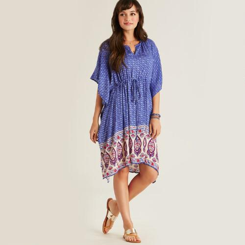 Blue Morgan Kaftan with Floral Border