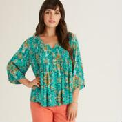 Turquoise and Orange Watercolor Nora Top