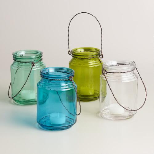 Seaside Modern Glass Lanterns Set of 4