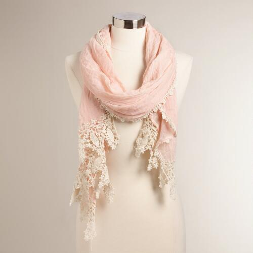 Blush Scarf with Crochet Border