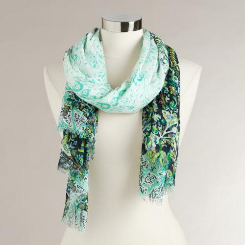 White, Blue and Green Paisley Scarf