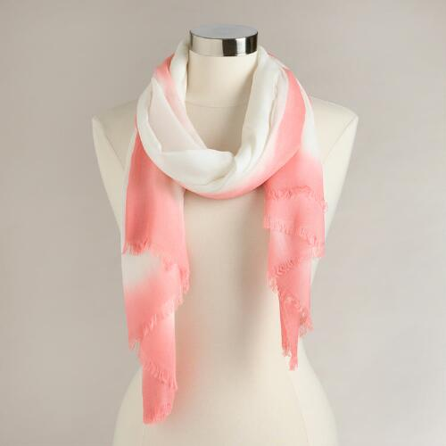 White and Coral Ombre Scarf