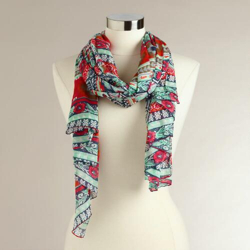 Blue and Pink Stripe Scarf