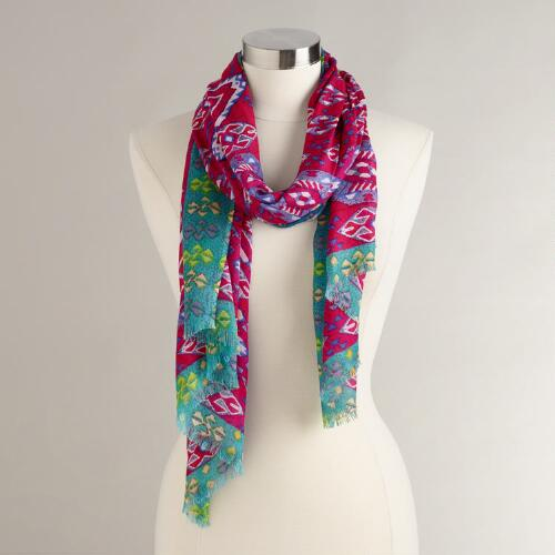 Fuchsia, Blue and Yellow Tribal Print Scarf