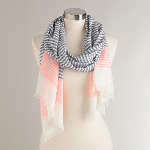 Blue and Pink Stripe Cotton Scarf