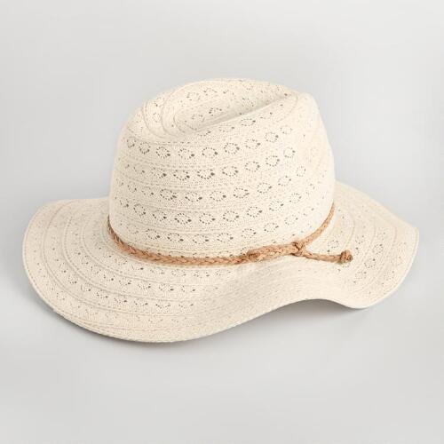 Ivory Crochet Fedora with Tie