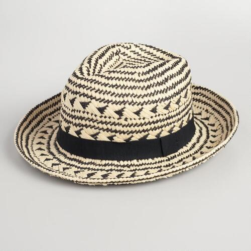 Black and Ivory Fedora with Tribal Band