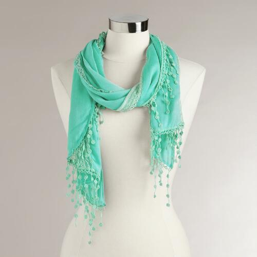 Turquoise Lace Crochet Scarf with Fringe