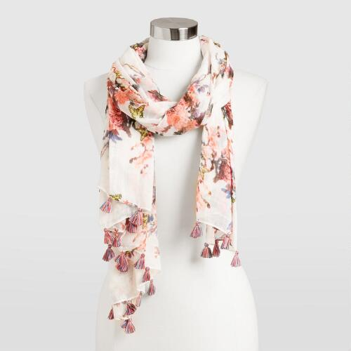 White and Coral Floral Scarf with Tassels