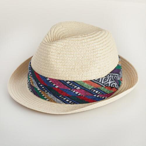 Beige Fedora With Woven Tribal Band