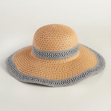 Beige Sun Hat with Marled Border and Brim