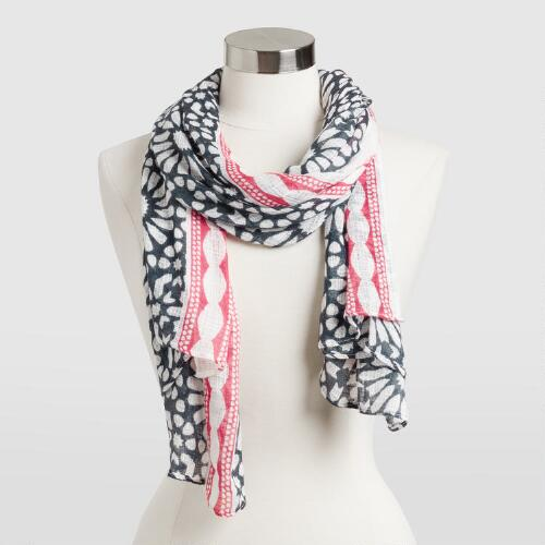 Black and Coral Geometric Scarf