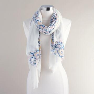 White, Pink and Blue Geometric Scarf