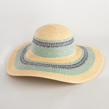 Beige Marled Sun Hat with Blue Stripe