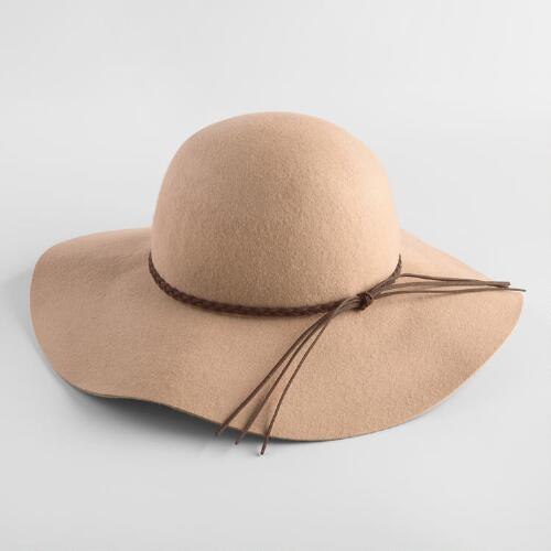 Tan Floppy Hat with Braid
