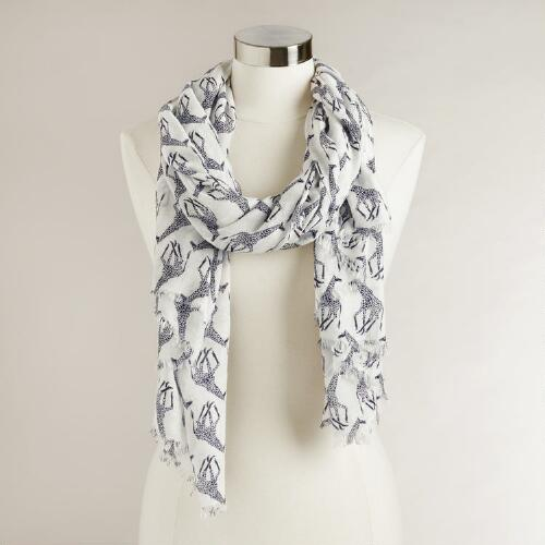 White and Black Giraffe Scarf
