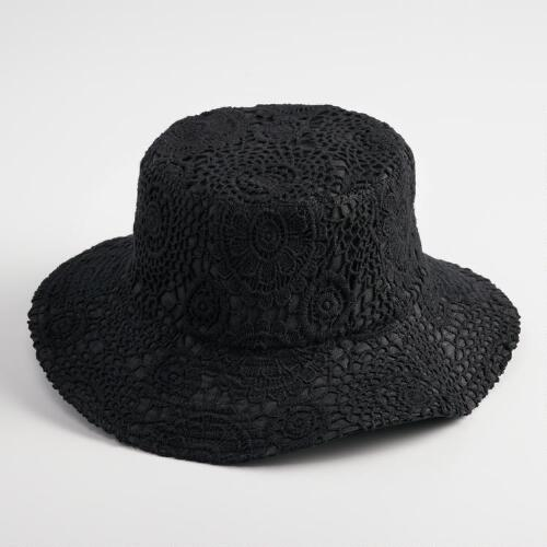 Black Crochet Bucket Hat