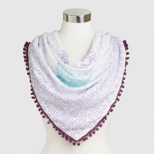 White and Purple Prayer Shawl with Pompoms