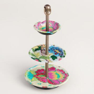 Bold Floral Three Tier Jewelry Stand