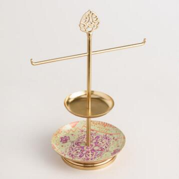 Gold Lotus Jewelry Stand with Dish