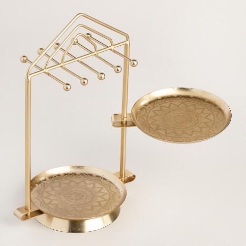 Gold Dish Swivel Jewelry Stand